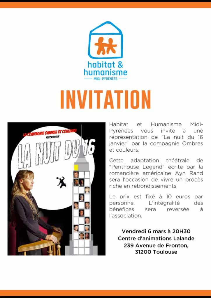Invitation 6 Mars 2020 théâtre HH MP