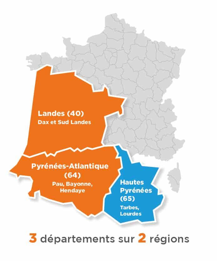 Carte France Région Pyrénnées Adour