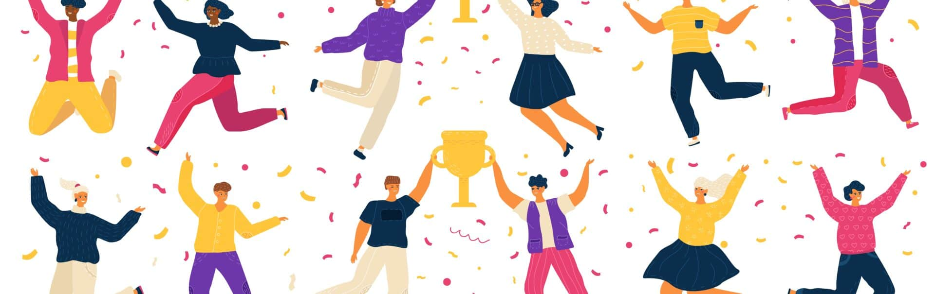 Jumping People, Happy Carton Characters, Award Winner Vector Illustration. Men And Women Celebrating Victory In Competition, Cheerful People Jump With Trophy Award. Contest Winner Celebration Party