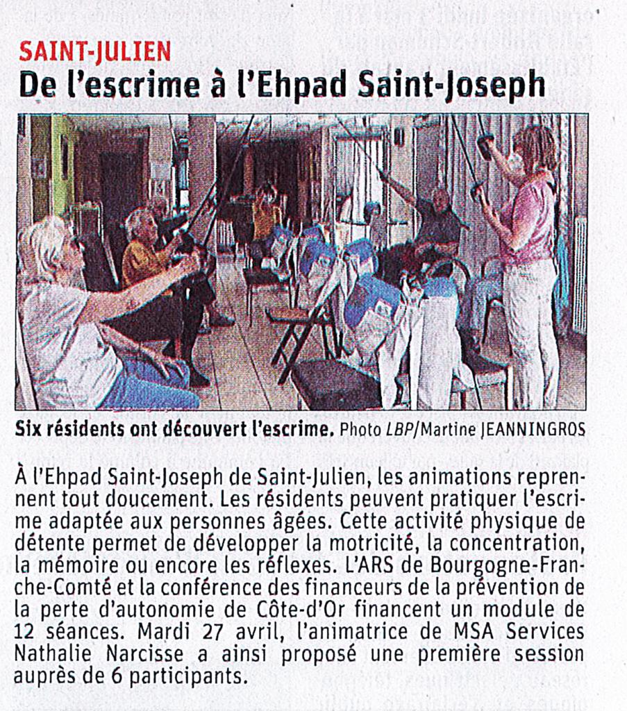 Presse De L'escrime à L'ehpad Saint Joseph 1