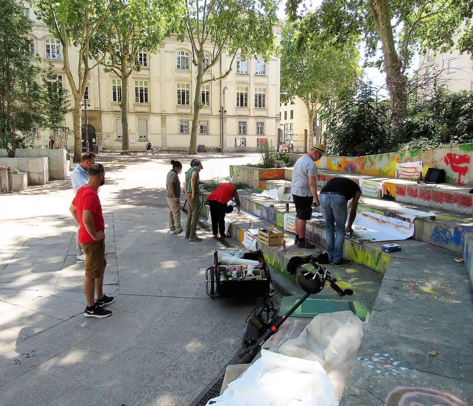 Inauguration œuvre participative de Street art
